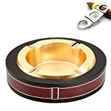 Cigar/Cigarette Ashtray,Stainless steel Leather Creative Fashion Tabletop Cigars Ashtrays For Indoor or Outdoor Use,Ash Holder for Smokers, Desktop Smoking Ashtray for Home Office Decoration (Gold)