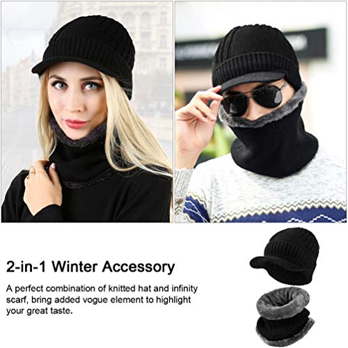 VBG VBIGER 2-Pieces Winter Knit Hat Scarf Set Warm Thick Knit Caps with Visor for Men Women by VBG VBIGER (Image #2)