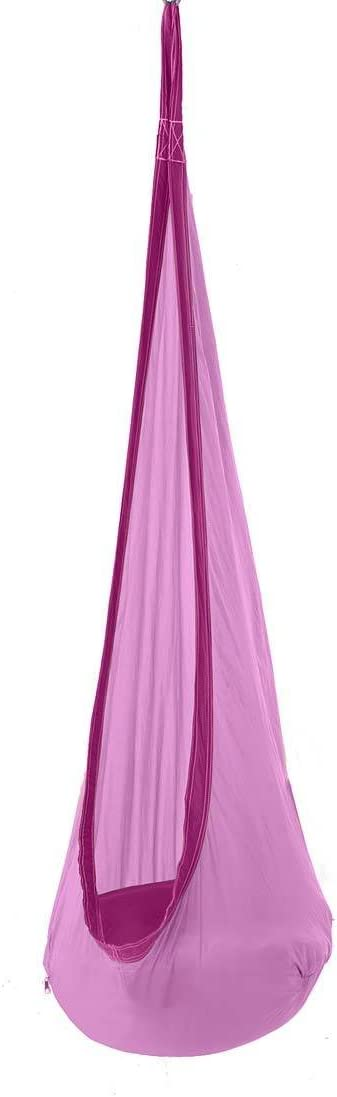 HearthSong HugglePod Lite Indoor Outdoor Hanging Hammock Chair, Durable Lightweight Nylon with Reinforced Hanging Strap, Max Weight 175 LBS, 64 H x 24 W – Purple