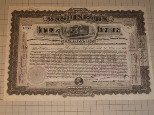 Stock Electric Company (1905 Washington Railway and Electric Company Stock Certificate)