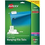 Avery Self-Adhesive Printable Hanging File Tabs, Laser/Inkjet, 1/5 Cut, White, Pack of 90  (5567)