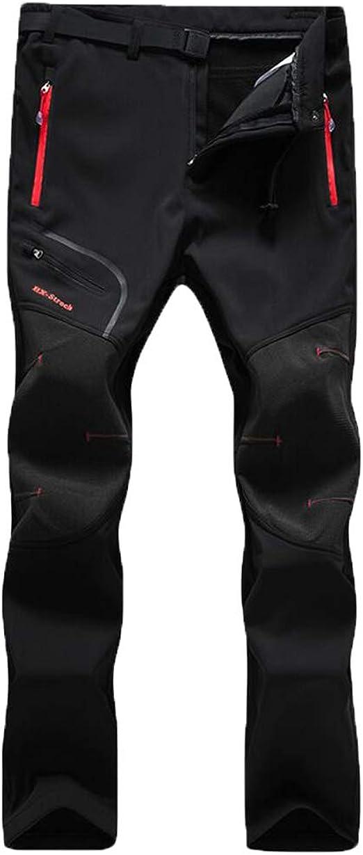 spessi Pantaloni da trekking impermeabili da donna in softshell Volwassan con elastico in vita da campeggio colore: nero invernali da lavoro