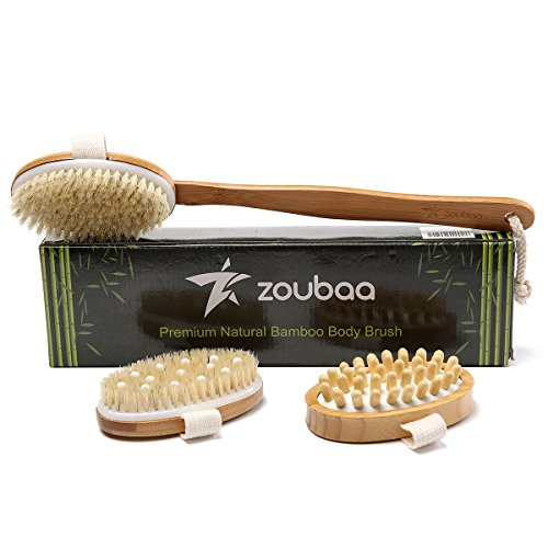 Premium Bamboo Long Handle Body Brush With Natural Boar Bristle Set Best For Wet Or Dry Skin Brushing Exfoliating Skin - Stimulating Lymphatic System Flow Increase Blood Circulation -Reduce Cellulite by zoubaa (Image #6)
