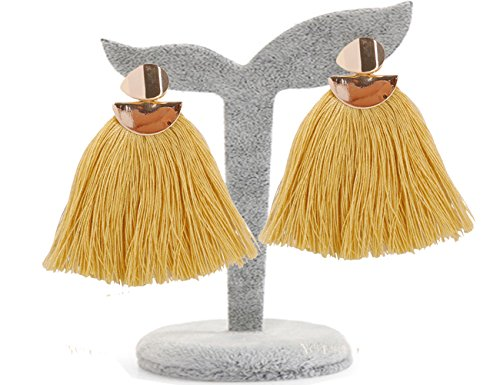 BEMI Elegant Girls Bohemia Ethnic Tassel Stud Dangle Earrings Eardrop Christmas Graduated Gift for Womens Yellow