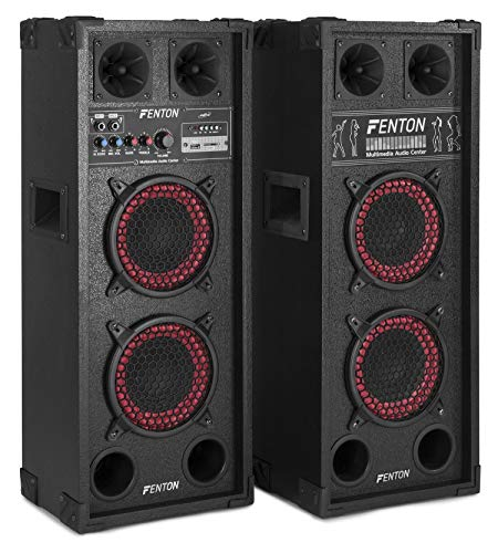 Fenton SPB-26 Actieve Speakerset 2x 6 Inch 600 Watt 2 stuks met Bluetooth voor Muziek, Zang en Karaoke.