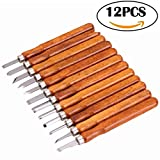 Colybecation 12pcs Professional SK2 Carbon Steel Wood Carving Tools Knife Kit Chisel Set