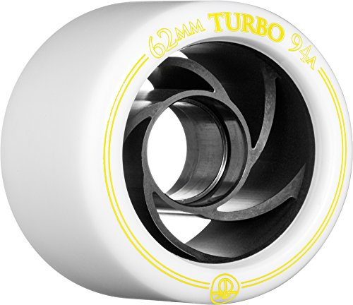 Rollerbones Turbo 94A Speed/Derby Wheels with an Aluminum Hub (Set of 8), 62mm, White (Set Aluminum Hub)