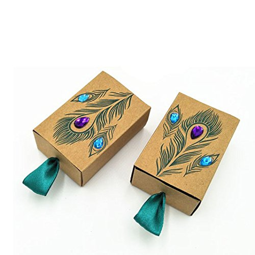 Honeyhome 50pcs Rhinestone Peacock Particular Bonbonniere Kraft Paper Boxes for Wedding Favors (Christmas Candy Gift Box)