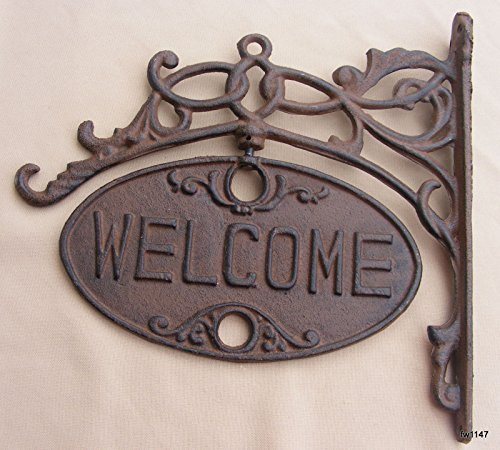 Upper Deck Welcome or Go Away Sign Ornate Cast Iron Front Do