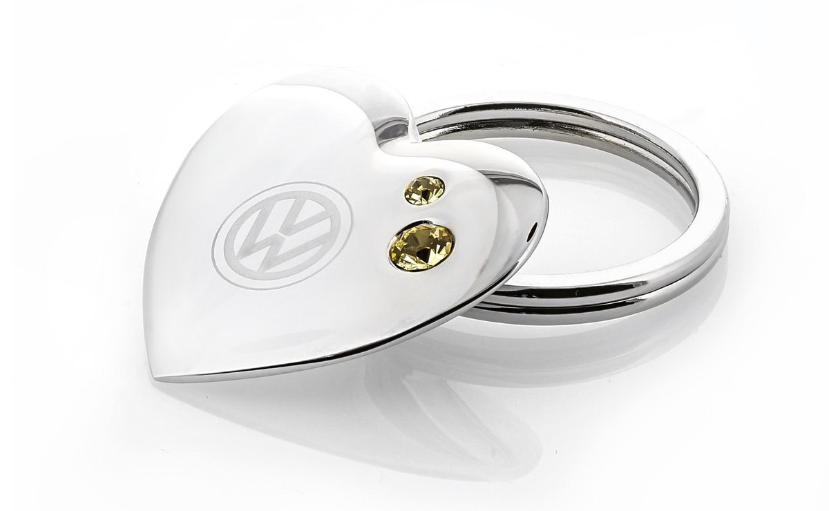 Volkswagen Chrome Plated Heart Shaped Keychain with VW Logo and White Swarovski Crystal Baronlfi