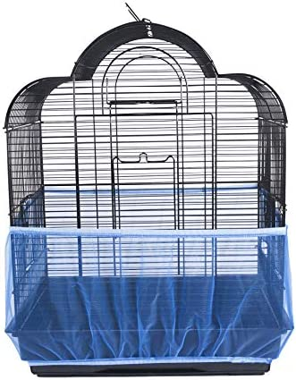 Nylon Mesh Bird Cage Cover Shell Skirt Net Easy Cleaning Seed Catcher Guard Bird Cage Accessories Airy Mesh Parrot Bird Cage Net,Blue,M