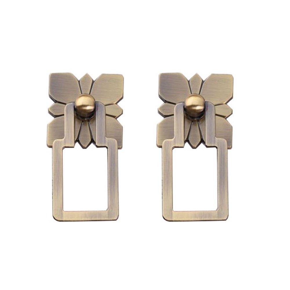 Cucumis Flower Pattern Plate Pulls Cupboard Drawer Wine Cabinet Wardrobe Single Hole Handles 2 Pcs (Bronze)