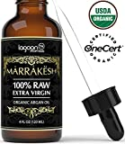 (4oz) Certified ORGANIC Argan Oil For Face, Hair, Skin, Beard, Cuticles & Nails - USDA Organic - 100% Raw Extra Virgin Argan Oil of Morocco - Cold pressed & Unrefined - Bottle With Dropper + E-Book.