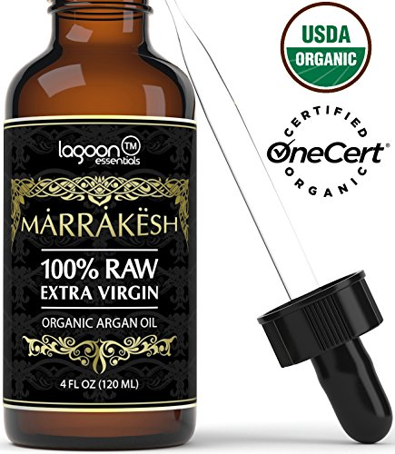 (4oz) Certified ORGANIC Argan Oil For Face, Hair, Skin, Beard, Cuticles&Nails – USDA Organic – 100% Raw Extra Virgin Argan Oil of Morocco – Cold pressed&Unrefined – Bottle With Dropper + E-Book.