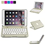 iNNEXT Ultra-Thin Apple iPad Mini Wireless Bluetooth Keyboard Folio Case Cover with Built-In Stand Groove for Apple iPad Mini 4 iPad Mini with Retina Display with 135 Degree Swivel Rotating-Silver