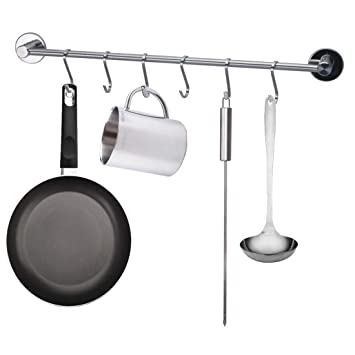 Amazon.com: Home and Kitchen Storage Rail, Wall Mounted Utensil Rack Organizer with 6 Hanging Hooks, Stainless Steel Utility Kitchen Hanger Tools for Pot, ...
