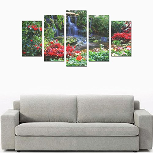 sentufuzhuang Canvas Printing Children's room custom mural Natural landscape garden flowers canvas print bedroom or living room features oil painting 5 pieces, ready for framing (No Frame). by sentufuzhuang Canvas Printing
