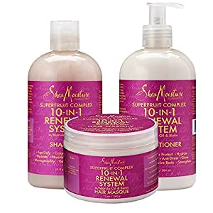 SheaMoisture Superfruit Complex 10-in-1 Renewal System w/Marula Oil & Biotin – Includes 13 oz. Shampoo, 13 oz. Conditioner & 12 oz. Hair Masque (Hair Care Combo)