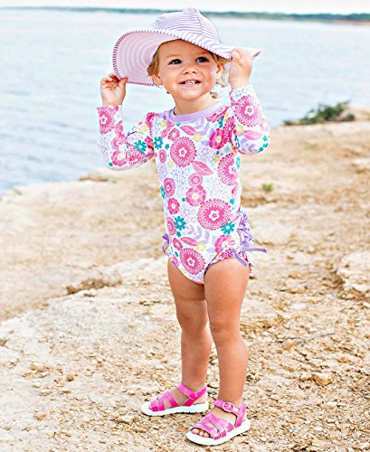 Large Product Image of RuffleButts Baby/Toddler Girls Long Sleeve One Piece Swimsuit UPF 50+ Sun Protection
