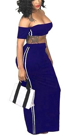 4380d34a09a7b0 Jaycargogo Womens Sexy 2 Piece Off Shoulder Crop Top and Skirt Set Long  Maxi Dress at Amazon Women's Clothing store: