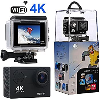 Action Camera, Wewdigi WiFi Sport Camera Ultra 4K HD Waterproof with 170 Wide-Angle Lens and Rechargeable Battery, Including Full Accessories Kits and Waterproof Case