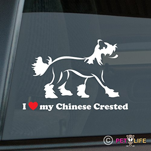 I Love My Chinese Crested Sticker Vinyl Auto Window v2 puff