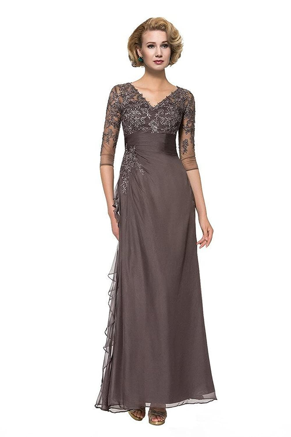 CLOCOLOR Women's Floor Length Ruched V-neck Lace Beaded Mother of the Bride Dress with 3/4 Sleeves