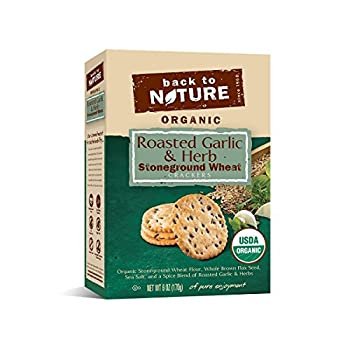 Back to Nature Organic Stoneground Wheat Crackers, Roasted Garlic& Herb, 6 Oz (Pack of 6)