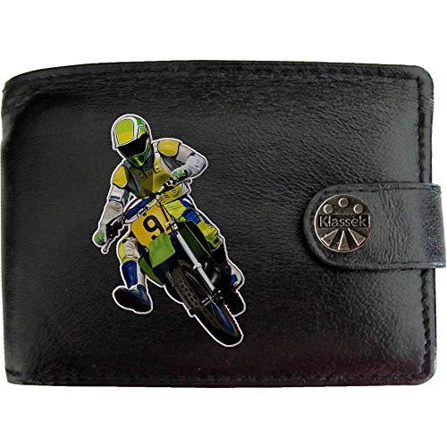 Motocross Single Rider Motorsport Bike Racing KLASSEK Mens Wallet Real Black Leather RFID Blocking with Coin Pocket and…