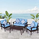 Diensday Patio Outdoor Furniture|Sectional Conversation Chair Sofa Sets Deep Seating Cushions Chat Set, with Olefin Cushion, All-Weather PE Wicker, Coffee Table(4 Piece, Sky Blue)