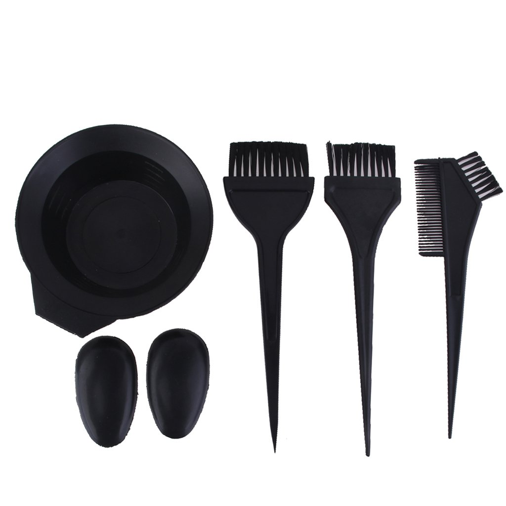 Homyl 6Pcs/Set Black Hair Dye Kit - Hairdressing Coloring Brushes, Mixing Bowl, Combo, Salon Hair Color Dye Tint DIY Tool Set