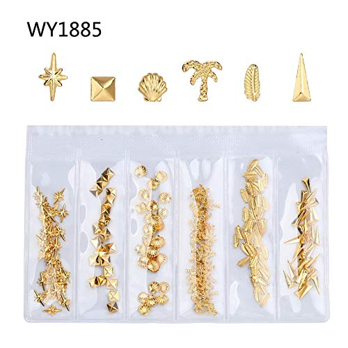 1 Bag Gold Nail Art Decorations Studs Nails Design Jewelry Manicure Metal Nail Charms WY1885