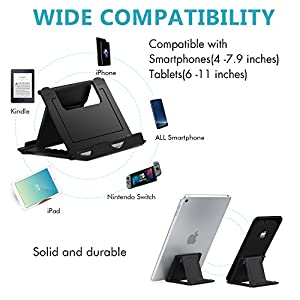 "Cell Phone Stand,4 Pack Tablet Stand,Universal Foldable Multi-angle Pocket Desktop Holder Cradle for Tablets(6-11""),iPhone X/8/7 Plus/7/6s/6/5/4 SE iPad mini, Nintendo Switch Samsung Galaxy,Black"