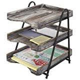 MyGift 3-Tier Torched Barnwood Style Wooden Desktop Document Tray, Office File Folder Rack