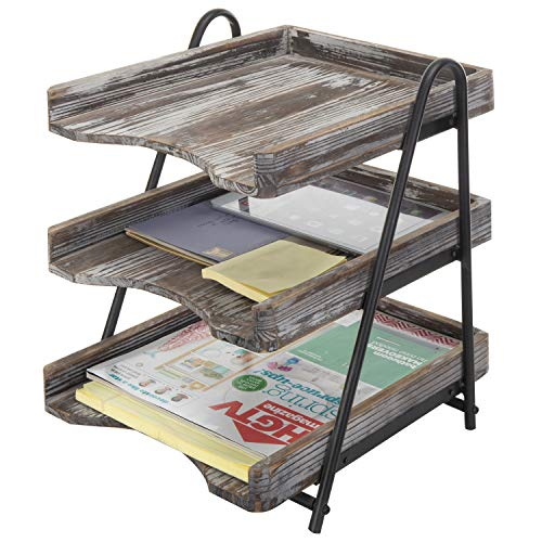 MyGift 3-Tier Torched Barnwood Style Wooden Desktop Document Tray, Office File Folder Rack Double Raised Wood Letter