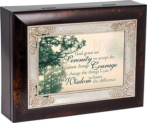 The Serenity Prayer Dark Wood Finish Jewelry Music Box Plays Tune How Great Thou Art ()
