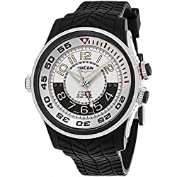 Vulcain Cricket X-TREME Mens Manual Wind Silver Face Alarm Black Rubber Strap Swiss Watch 101924.159RF