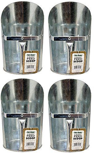 22 2 Quart Galvanized Metal Feed Scoop - Quantity 4 (2 Quart Feed)