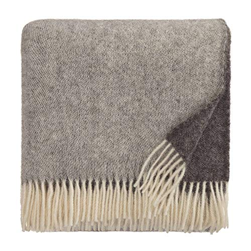URBANARA 100% Pure Scandinavian Wool Throw Salakas 55x87 Brown/Grey with Fringe — Virgin Wool Blanket with Intervowen Colors and Striped Design — Perfect for Your Couch, Sofa, Bedroom, Twin Size Bed