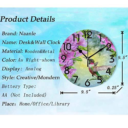 Naanle 3D Hummingbird Flowers Clock Quiet Desk for Home,Office,School