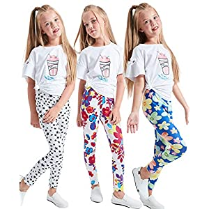 LUOUSE Girls Stretch Leggings Tights Kids Pants Plain Full Length Children Trousers