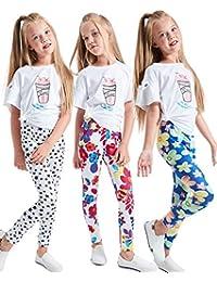 Girls Stretch Leggings Tights Kids Pants Plain Full Length Children Trousers, Age 4-13 Years