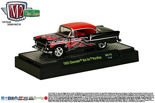(1955 CHEVROLET BEL AIR HARDTOP (Red / Black) * Wild Cards Series Release 10 * M2 Machines 2015 Castline Premium Edition 1:64 Scale Die-Cast Vehicle ( WC10 15-56 ))