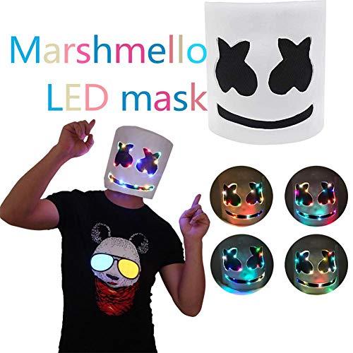 Owlhouse Marshmello Helmet, LED Marshmello DJ Mask Full Helmet, Cosplay Costume Carnival Halloween Props Latex Mask -