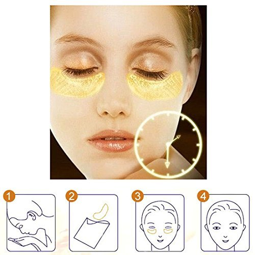 24K Gold Powder Eye Mask, Eye Patch Pack, Smooth Chill Feeling, 100% Collagen Under Eye Pads, Anti Aging, Remove Bags, Eliminates Dark Circles and Fine Lines, Under Eye Mask for Men Wome