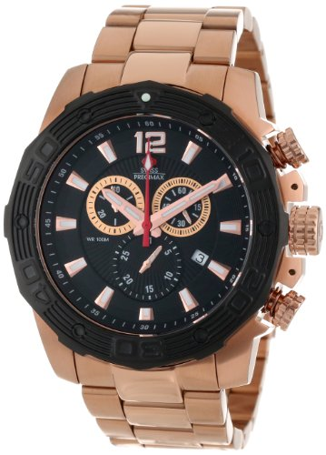 Swiss Precimax Men's SP13268 Legion Reserve Pro Black Dial with Rose-Gold Stainless Steel Band Watch