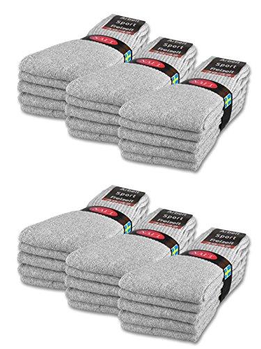 sockenkauf24 10 | 20 | 30 Paar Sportsocken Tennissocken Arbeitssocken Damen & Herren Socken in 5 Farben - Größe 35-50 wählbar (39-42, 30 Paar | Hellgrau)
