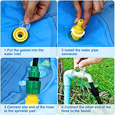 "Sprinkler and Splash Pad, Large 68"" Inflatable Sprinkler Pad Wading Pool, Outdoor Ocean Life Splash Play Mat Water Toy for 1-12 Years Old Toddlers Kids: Toys & Games"