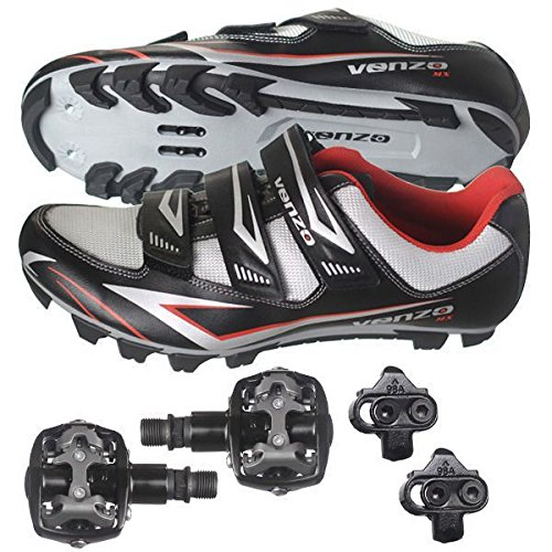 Venzo Mountain Bike Bicycle Cycling Shimano SPD Shoes + Pedals & Cleats 46 (black)