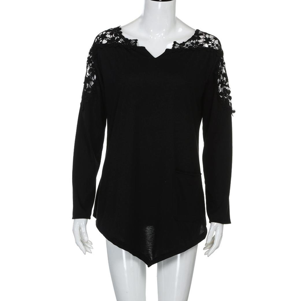 Anxinke Womens Lace Patchwork Hollow Out Long Sleeve Shirts Top V Neck Curved Hem Blouse Plus Size (Black, 7XL) by Anxinke Women Blouse (Image #4)